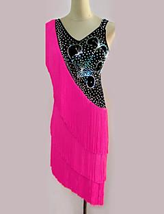 라틴 댄스 드레스 여성용 성능 스판덱스 태슬 1개 민소매 높음