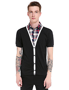 Men's Going out Casual/Daily Party Vintage Simple Street chic Spring Summer T-shirt,Solid Striped Shirt Collar Short Sleeve Polyester Thin