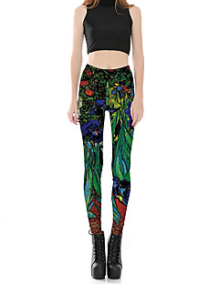 מכנסיים צ'ינו פרחוני מיקרו-גמיש סקיני גיזרה בינונית (אמצע) דפוס סקסי חמוד נשים