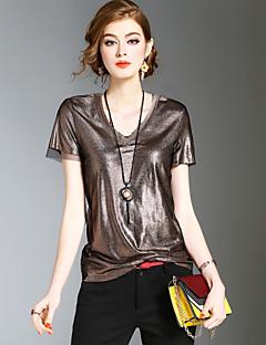 Dames Vintage Eenvoudig Street chic Lente Zomer T-shirt,Uitgaan Casual/Dagelijks Strand Effen V-hals Korte mouw Polyester Medium