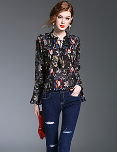 XSSLWomen's Going out Casual/Daily Holiday Vintage Cute Sophisticated Spring Fall BlousePrint V Neck Long Sleeve Polyester Medium