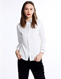 Women's Formal Simple All Seasons Blouse,Solid Shirt Collar Long Sleeve White Thin