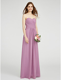 LAN TING BRIDE Floor-length Chiffon Bridesmaid Dress - Sheath / Column Strapless with Criss Cross
