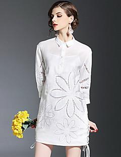 Kadın Dışarı Çıkma Günlük/Sade Sevimli Salaş Elbise Nakışlı,¾ Kol Uzunluğu Gömlek Yaka Diz üstü Polyester Bahar Yaz Normal Bel Mikro-Esnek