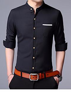 Pánské Jednobarevné Jednoduché Košile Bavlna Košilový límec Poloviční délka rukávu