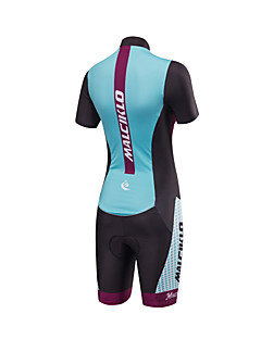 שרוול קצר חליפת טריאתלון לנשים אופניים קרב שלושהנושם עיצוב אנטומי חדירות ללחות רוכסן קדמי חדירות גבוהה לאוויר (מעל 15,000 גרם) 4D לוח