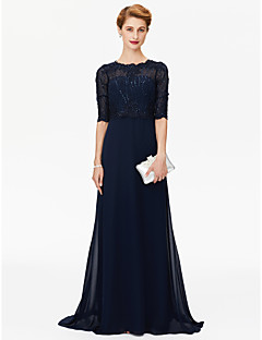 Sheath / Column Jewel Neck Sweep / Brush Train Chiffon Lace Mother of the Bride Dress with Beading Appliques by LAN TING BRIDE®