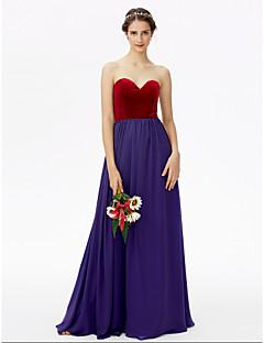 LAN TING BRIDE עד הריצפה לב (סוויטהארט) שמלה לשושבינה  - בלוק צבע ללא שרוולים שיפון קטיפה