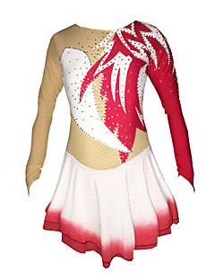 Műkorcsolya ruha Női Lány Hosszú ujj Korcsolyázás Szoknyák Ruhák Nagy rugalmasságú Műkorcsolya ruha Kézzel készített Strasszkő Spandex