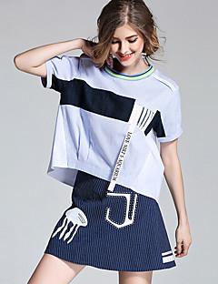 Damen Solide Alltag T-Shirt-Ärmel Rock Anzüge,Rundhalsausschnitt Sommer Kurzarm Mikro-elastisch