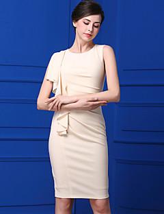 Kadın Günlük/Sade Sade Kılıf Elbise Solid,Kolsuz Yuvarlak Yaka Diz-boyu Polyester Yaz Normal Bel Mikro-Esnek Orta