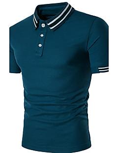 メンズ 日常 カジュアル 夏 Polo,シンプル シャツカラー ストライプ パッチワーク コットン スパンデックス 半袖 ミディアム