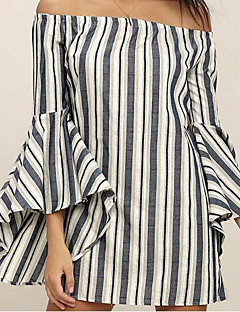Women's Off Shoulder/Flare Sleeve Club Loose Dress,Striped Strapless Mini Long Sleeve Cotton Summer Mid Rise Inelastic Thin