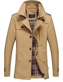 Men's Casual/Daily Vintage Fall Winter Jacket,Solid Shirt Collar Long Sleeve Regular 100%Cotton