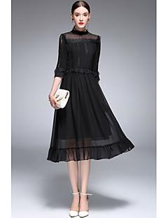 Kadın Çan Elbise Solid,¾ Kol Uzunluğu Dik Yaka Midi Polyester Tafta Bahar Yaz Normal Bel Mikro-Esnek İnce