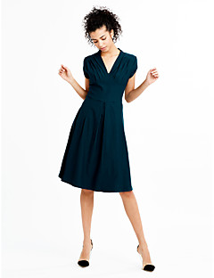 Women's Going out Vintage / Simple / Street chic Swing Dress,Solid Deep V Knee-length Short Sleeve