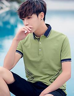 メンズ 日常 Polo,シンプル シャツカラー ソリッド コットン 半袖