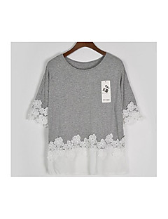 Women's Going out Vintage Cute T-shirt,Solid Round Neck ½ Length Sleeve Cotton