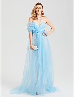 TS Couture Formeller Abend Kleid - Promi-Stil Eng anliegend Sweetheart Pinsel Schleppe Spitze Organza mitSchleife Spitze Schärpe / Band