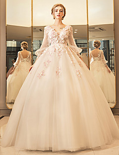 Princess Wedding Dress - Elegant & Luxurious Floor-length V-neck Tulle with Appliques Beading Lace