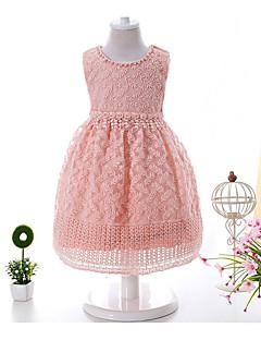 bebê Vestido Estampado Liso Algodão-Verão