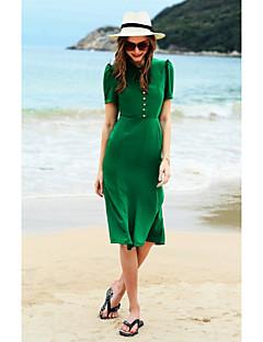 Damen Bodycon Kleid-Ausgehen Lässig/Alltäglich Niedlich Solide Rundhalsausschnitt Midi Kurzarm Baumwolle Frühling Sommer Mittlere Hüfthöhe