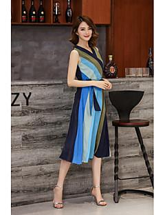 Kadın Dışarı Çıkma Günlük/Sade Çan Elbise Zıt Renkli,Kolsuz V Yaka Midi Polyester Bahar Yaz Normal Bel Mikro-Esnek Orta