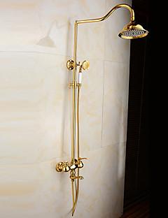 アンティーク調 バスタブとシャワー レインシャワー ワイドspary ハンドシャワーは含まれている with  セラミックバルブ 二つのハンドル二つの穴 for  Ti-PVD , シャワー水栓