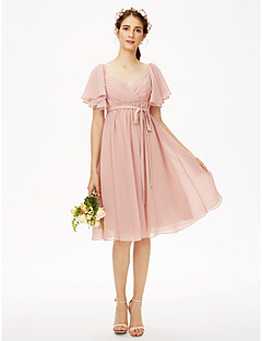 A-Line Queen Anne Knee Length Chiffon Bridesmaid Dress with Sash / Ribbon Criss Cross Pleats by LAN TING BRIDE®