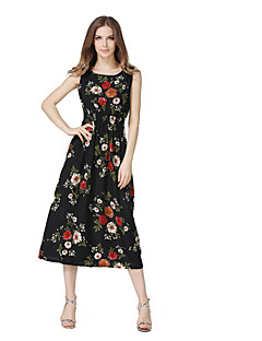 Women's Going out Casual/Daily Beach Sexy Vintage Street chic Loose Sheath Dress,Print Strap Maxi Sleeveless Polyester Summer High Rise