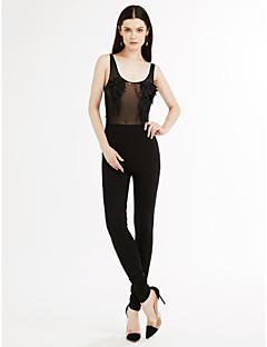 Femme Petites Tailles Mince Combinaison-pantalon,Sexy Décontracté / Quotidien Couleur Pleine Lace Col Arrondi Manche LonguesTaille