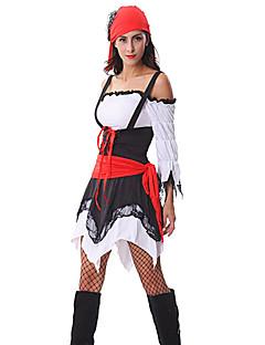 Fantasias de Cosplay Festa a Fantasia Pirata Festival/Celebração Trajes da Noite das Bruxas Patchwork Vestido Peça para Cabeça CintoDia