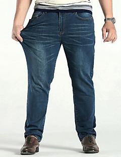 Bărbați Larg Drept Simplu Talie Medie,Micro-elastic Drept Blugi Pantaloni Solid