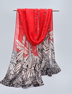 Women's Beach Chiffon Flowers Printing Scarf Long Section Sunscreen Decorative Silk