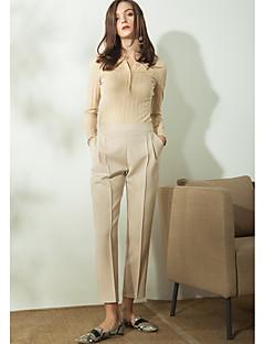 Femme simple Taille Normale non élastique Entreprise Pantalon,Large Couleur Pleine