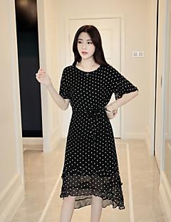 Kadın Sevimli A Şekilli Elbise Yuvarlak Noktalı,½ Kol Uzunluğu Yuvarlak Yaka Asimetrik İpek Bahar Yaz Normal Bel Esnemez Orta