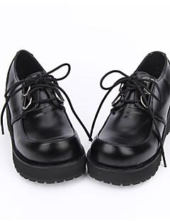 נעליים לוליטה קלאסית ומסורתית לוליטה פאנק לוליטה עבודת יד פלטפורמה צבע אחיד לוליטה 5 CM שחור ל עור פוליאוריתן עור PU