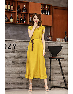 Kadın Sevimli Çan Elbise Solid,Kolsuz Yuvarlak Yaka Midi Polyester Bahar Yaz Normal Bel Mikro-Esnek Orta