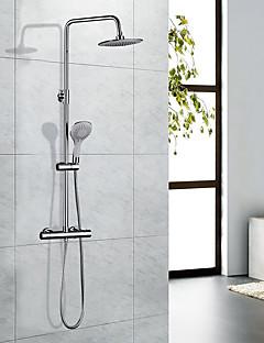 現代風 アールデコ調/レトロ風 近代の バスタブとシャワー サーモスタットタイプ レインシャワー ハンドシャワーは含まれている with  真鍮バルブ 二つのハンドル二つの穴 for  クロム , シャワー水栓