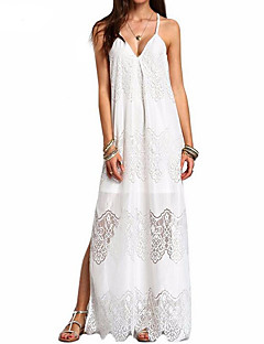 Women's Party/ Evening Daily Casual Casual/Daily Vintage Loose Dress,Solid Strap Maxi Slings Polyester Summer Mid Rise Micro-elastic