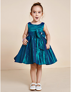 Princess Knee Length Flower Girl Dress - Polyester Jewel with Bow(s) Sash / Ribbon Pleats
