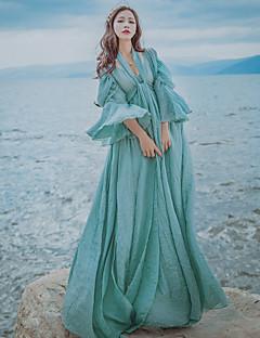 여성 스윙 드레스 빈티지 심플 솔리드,딥 V 맥시 ½ 길이 소매 린넨 봄 여름 높은 밑위 약간의 신축성 중간