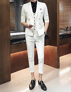 Erkek 1/2 Kol Uzunluğu Çentik Yaka Bahar Yaz Solid Basit Günlük/Sade Normal-Erkek Takım Elbise