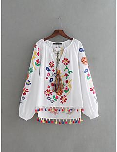 レディース お出かけ カジュアル/普段着 夏 Tシャツ,セクシー シンプル ストリートファッション ラウンドネック 刺繍 コットン 長袖 薄手 ミディアム