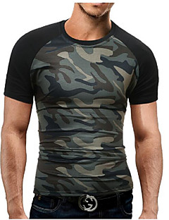 Men's Sports Plus Size Casual/Daily Simple Summer T-shirt,Color Block Camouflage Round Neck Short Sleeve Cotton Polyester Medium