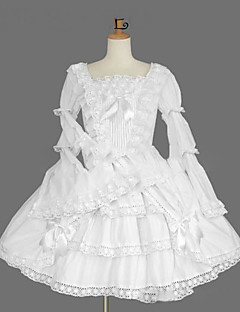 One-Piece/Dress Gothic Lolita Lolita Cosplay Lolita Dress White Vintage Cap Long Sleeve Knee-length Dress For Cotton Blend