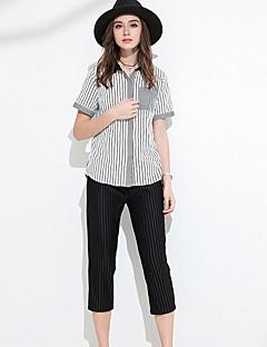 Damen Solide Gestreift Einfach Büro/Geschäftlich Shirt Hose Anzüge,V-Ausschnitt Sommer Kurzarm strenchy