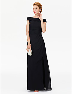LAN TING BRIDE מעטפת \ עמוד שמלה לאם הכלה  - פורקל עד הריצפה שרוולים קצרים שיפון  -  שסע קדמי קפלים