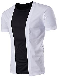 Masculino Padrão Carregam,Casual Simples Sólido Colarinho Chinês Manga Curta 100% algodão Primavera Verão Média Micro-Elástica