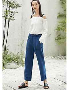 Femme simple Taille Normale non élastique Jeans Pantalon,Large Couleur Pleine
